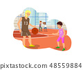 Vector Flat Dad and Son Playing in Basketball. 48559884