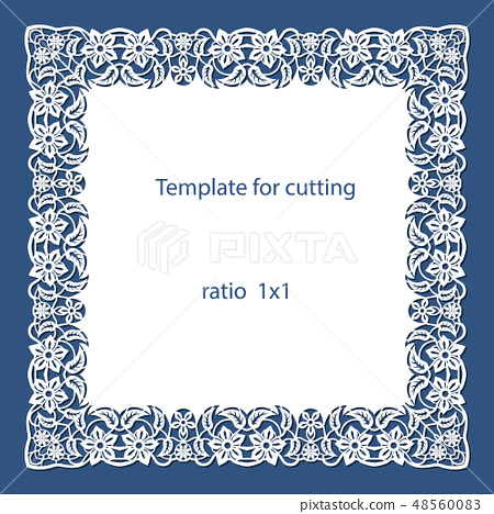 Greeting card with openwork border, paper doily 48560083
