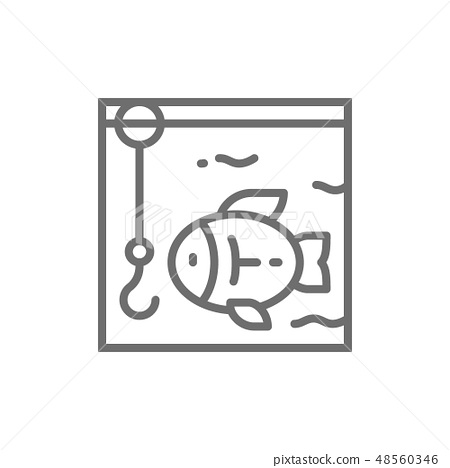 Fishing, hook with fish underwater line icon. 48560346