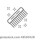 Hair comb, hairdresser brush, barber tool line icon. 48560428