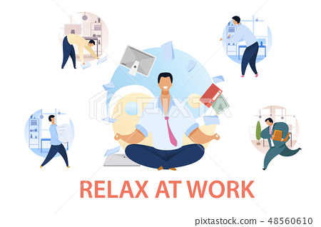 Office Life, Routine Flat Vector Illustrations Set 48560610