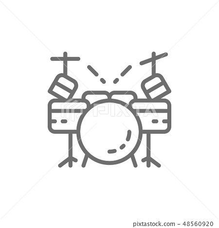 Drum kit, musical instrument line icon. Isolated on white background 48560920