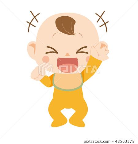 婴儿笑着用一只手举起 48563378