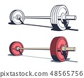 Weightlifting powerlifting or bodybuilding barbell 48565756
