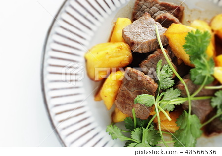 쇠고기와 파인애플의 중화 볶음 48566536