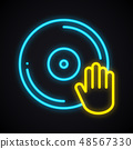Bright neon disco sign. Glowing dancing party symbol. Club, vinyl, music, nightlife, DJ theme. 48567330