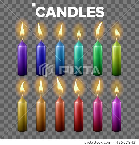 Candles Set Vector. Transparent Background. Paraffin Symbol. Meditation Element. Decorative Icon 48567843