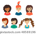 Set of cute girls with different color hand drawn  48569196
