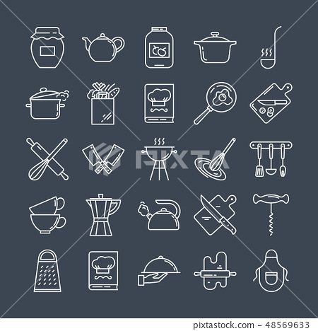 Set of clean line icons featuring various kitchen utensils and cooking related objects. 48569633
