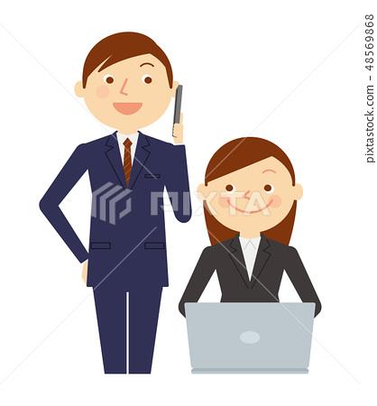 일하는 남녀 노트북 비즈니스 상반신 일러스트 48569868