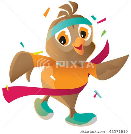 Owl athlete runs finish tape isolated white 48571610