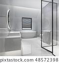 modern bathroom with luxury tile decor 48572398
