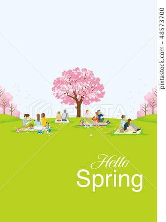 꽃놀이를하는 사람들 글자 Hello Spring 세로 구도 48573700