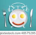 Breakfast time. Fried eggs on the plate 48575285