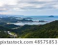 View to the old temple and coast, Jiufen, Taiwan 48575853