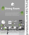 Modern dining room in Scandinavian style 48576528
