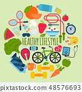 Healthy lifestyle concept round pattern vector illustration. Poster with sports equipment and 48576693