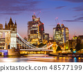 London Tower Bridge with Downtown building 48577199