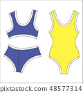 Woman bra fashion summer blue yellow swimsuit isolated icon 48577314