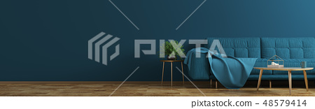 Interior of living room with blue sofa panorama 3d 48579414