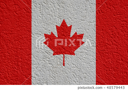 Canada Politics Or Business Concept: Canadian Flag Wall With Plaster, Texture 48579443