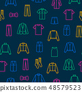 Man Clothes Signs Thin Line Seamless Pattern Background. Vector 48579523