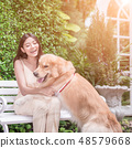 woman with dog 48579668