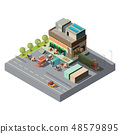 Vector 3d isometric warehouse, trucks for shipping 48579895