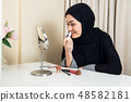 close-up portrait of charming Muslim woman wearing makeup. do face 48582181