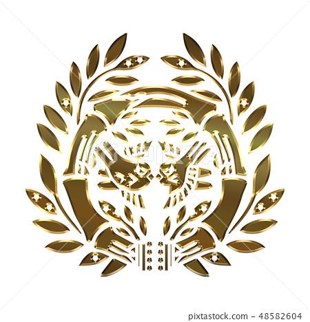 Crest of the Warring States era family crest Metallic Crest Senten Sengoku Daimyo | Date Date Masamune Bamboo Sparrow / Sendai Sasa | Gold Vector Data 48582604