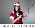 산타 의상을 입은 여성 48585434