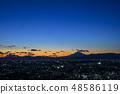 ทิวทัศน์ยามค่ำของท้องฟ้าสีครามวิวกลางคืนของภูเขาไฟฟูจิและเมืองโยโกฮาม่า 48586119