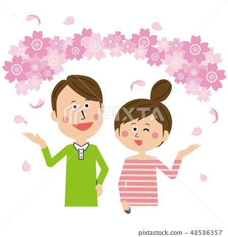 팝 커플 즐겁게 꽃놀이 48586357