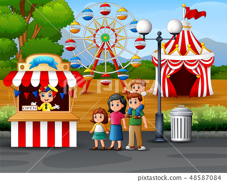 Happy family in the Amusement park 48587084