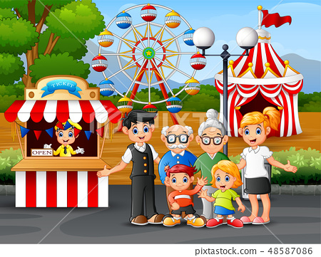 Happy family recreation in the amusement park 48587086