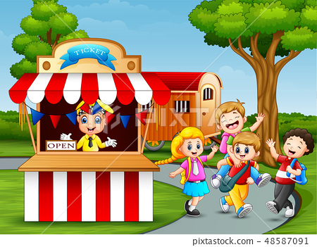 Happy kids having fun in an amusement park 48587091