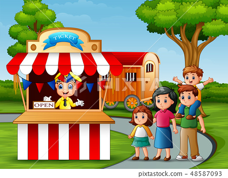 Happy family in the Amusement park 48587093
