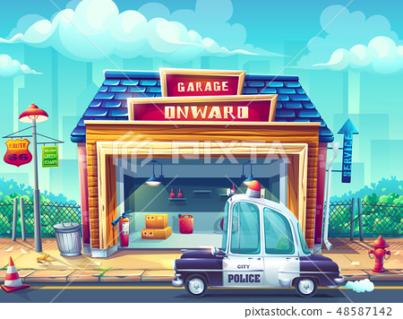 Vector illustration image police car 48587142