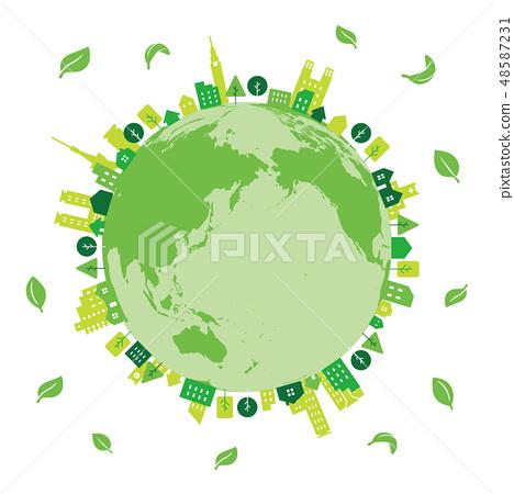 生態城市地球綠葉 48587231