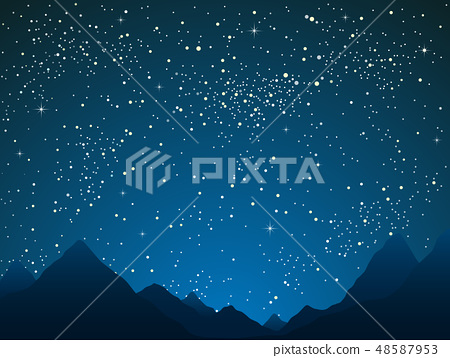Mountains on starry night sky. Outdoor nature. 48587953