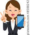 นักธุรกิจหญิงที่ชื่นชอบสมาร์ทโฟน 48588242