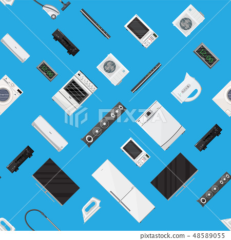 Household appliances seamless pattern. 48589055