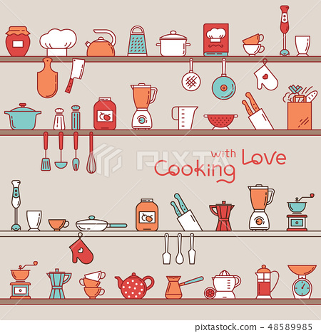 Seamless horizontal pattern with kitchen shelves full of various kitchen items and tools. 48589985