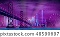 Modern night city cartoon vector urban background 48590697
