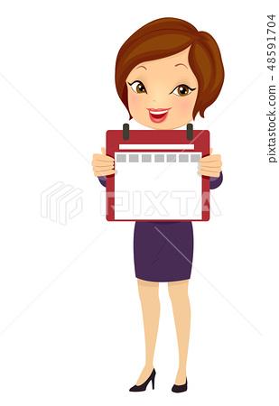 Girl Business Daily Calendar Blank Illustration 48591704