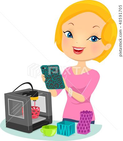 Girl Print 3D Illustration 48591705