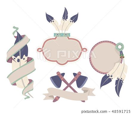 Native Indian Labels Illustration 48591715