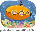 Stickman Kids Submarine Coral Reefs Illustration 48591763