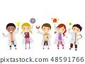 Stickman Kids Physics Lab Students Illustration 48591766