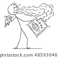 Cartoon of Man With Fire Coming Out of His Mouth When Eating Pepper Pizza 48593046